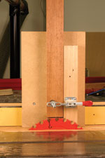 Start low and move up. Set the height of the saw blade to the shoulder line by sighting from the edge of the table. Make sure that one tooth is at top dead center, and make your initial setting slightly lower than you think you should. It will be easier to move up after a test cut than it would be to move down.