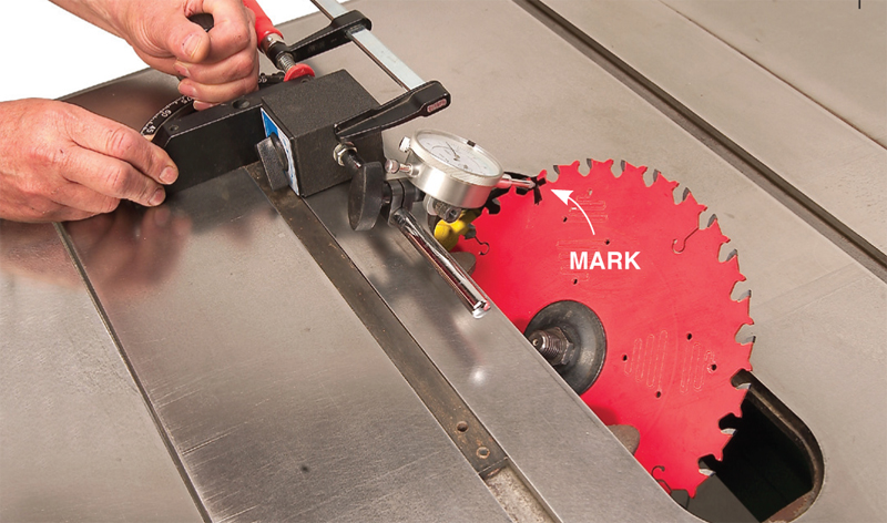 tablesaw alignment 45°