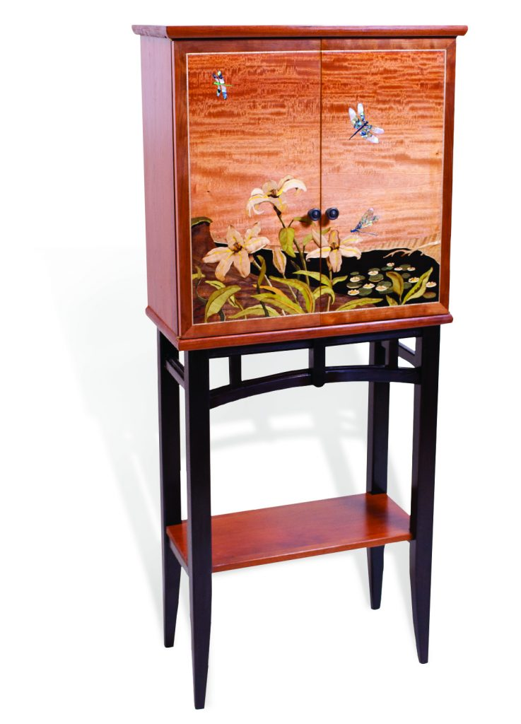 dragonfly and lily cabinet