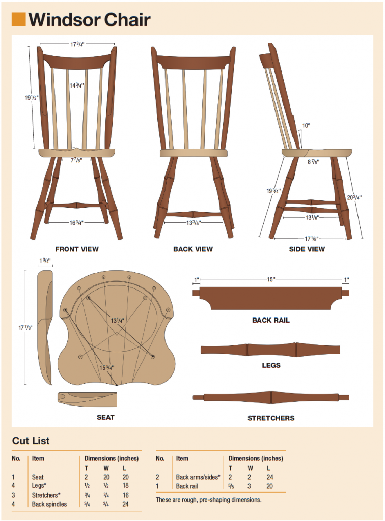 windsor chair diagram and cutlist