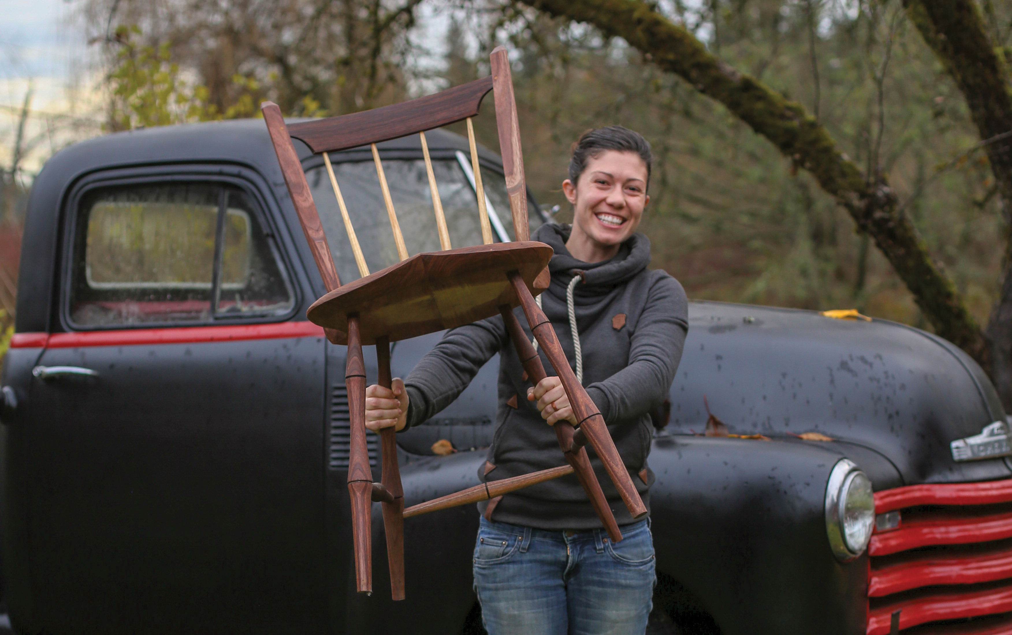 anne with her finished windsor chair