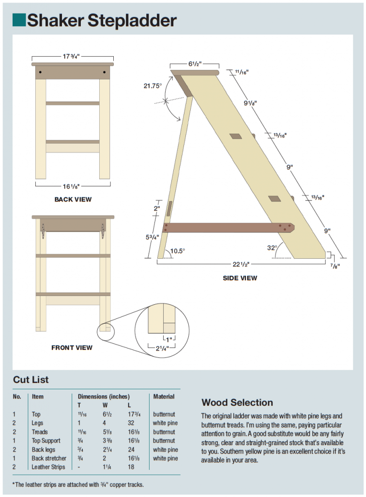 shaker step stool diagram