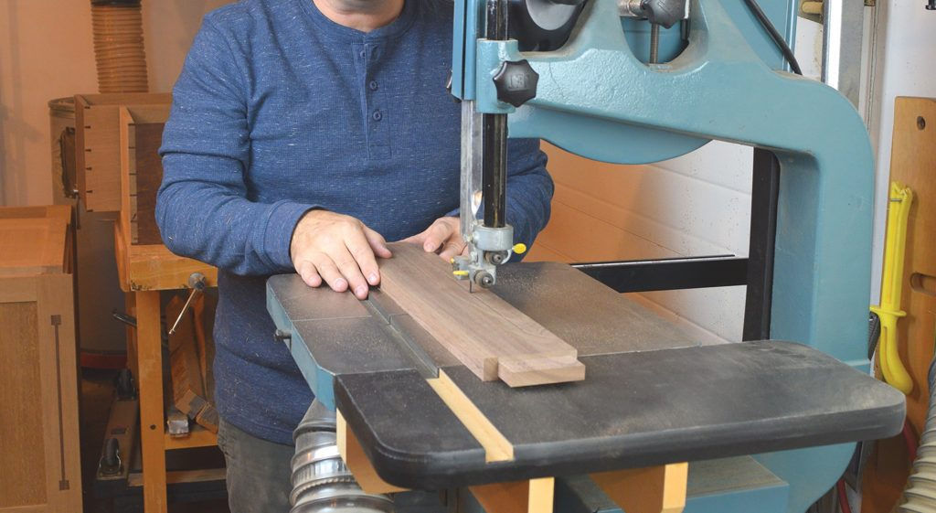 cutting aprons on the bandsaw