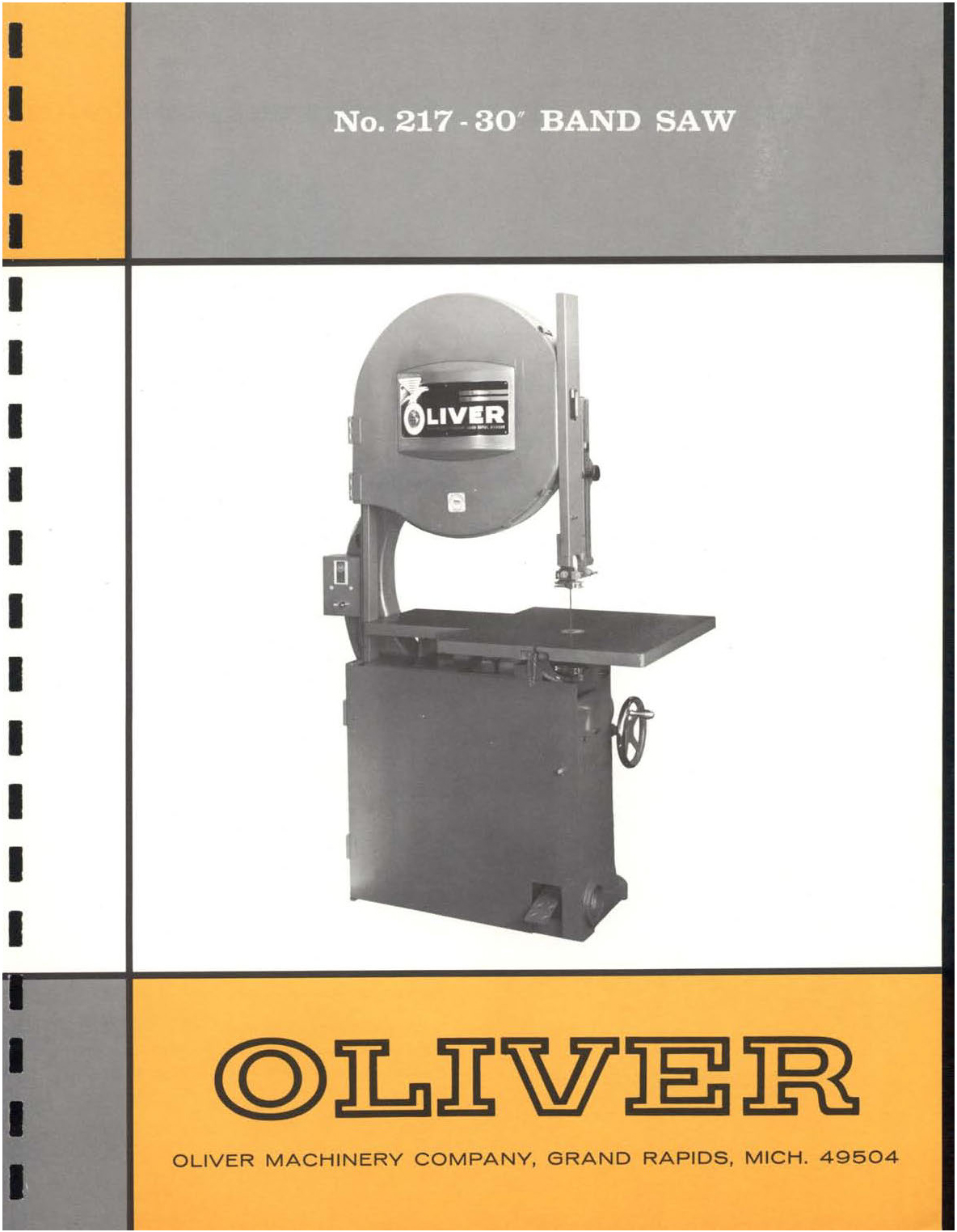 OLIVER Woodworking Machinery Manuals