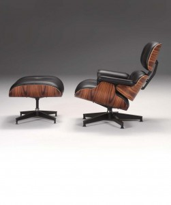 This Eames lounge chair and ottoman feature santos palisander veneer. Herman Miller was the original collaborative partner in 1956 for these and other Charles and Ray Eames pieces, and still holds exclusive license to produce these designs, which are registered with the U.S. Patent & Trademark Office.