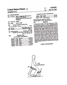 Above is the utility patent for the Balans Variable Chair, a popular seating form in the 1980s.