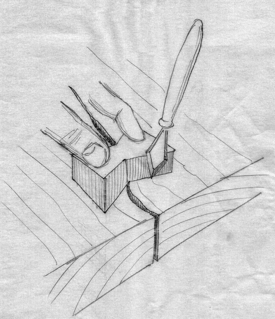 Outlining the parameter of the excavation with a marking knife.