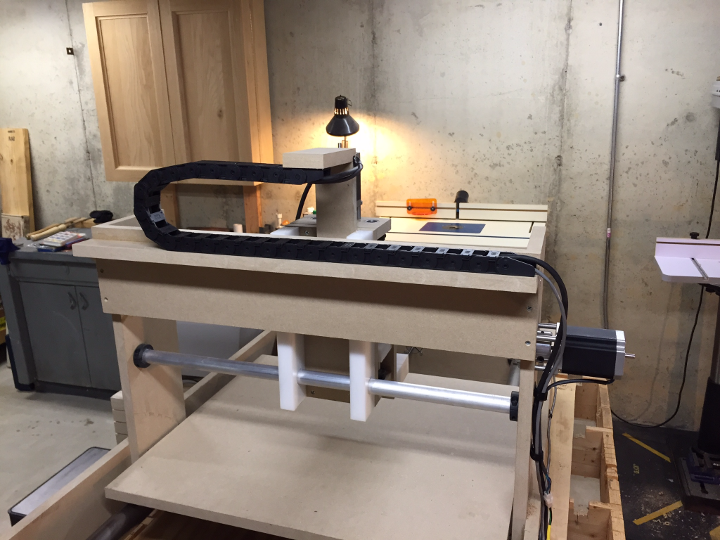 A Build a CNC Router student incorporated a drag chain in his build.