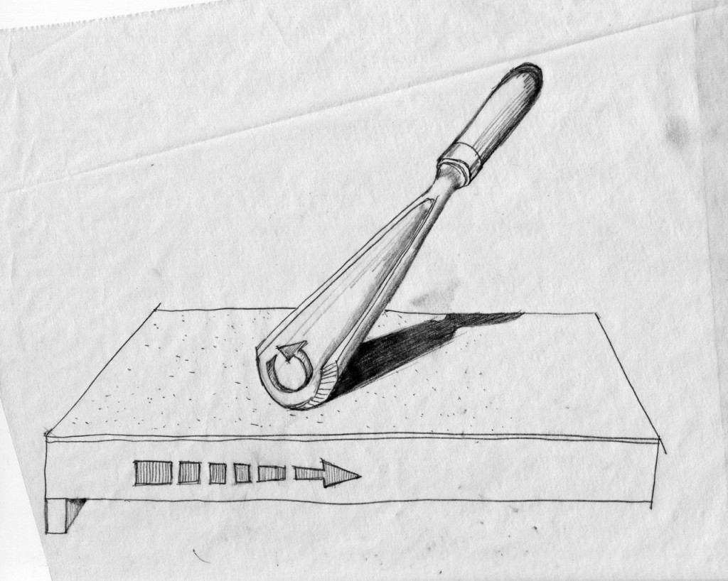 When sharpening gouge I move the bevel sideways using a rolling motion to cover the entire crescent bevel circumference.