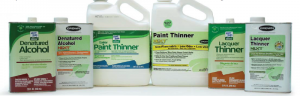 The three types of green solvents that Bob Flexner discusses in his article – paint thinner, lacquer thinner and denatured alcohol.