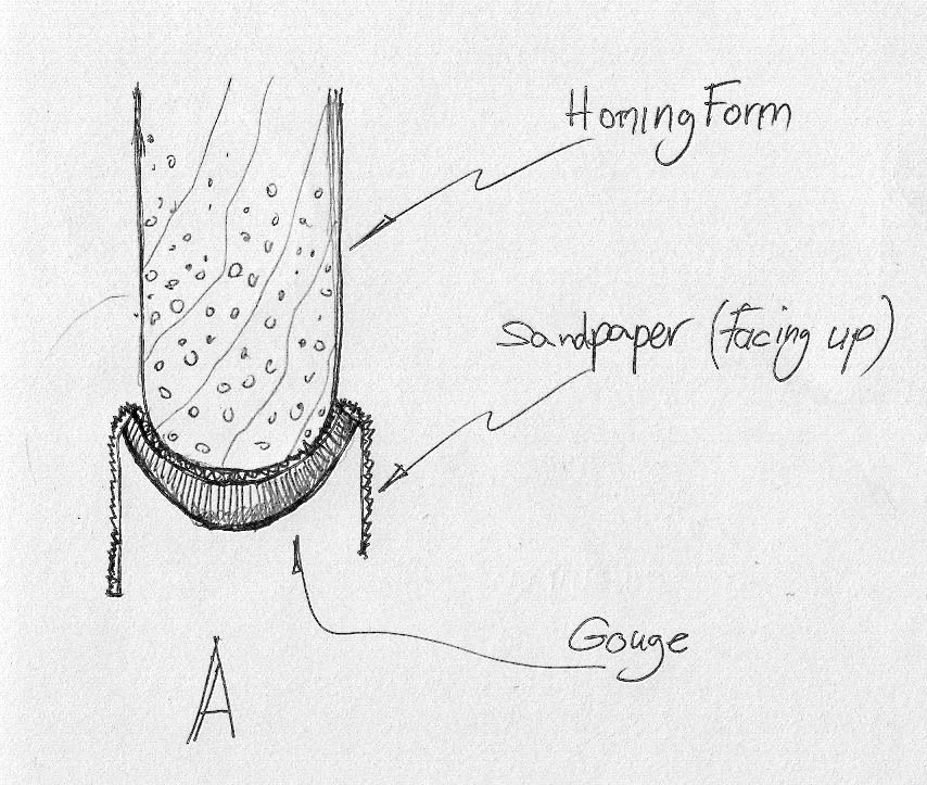 Place a 150 grit sandpaper (abrasive facing the wooden form) in the gouge's flute and move the form back and forth against the sandpaper until a uniform convex shape is created.