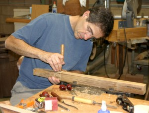 Jim Ipekjian at work on a Greene & Greene reproduction