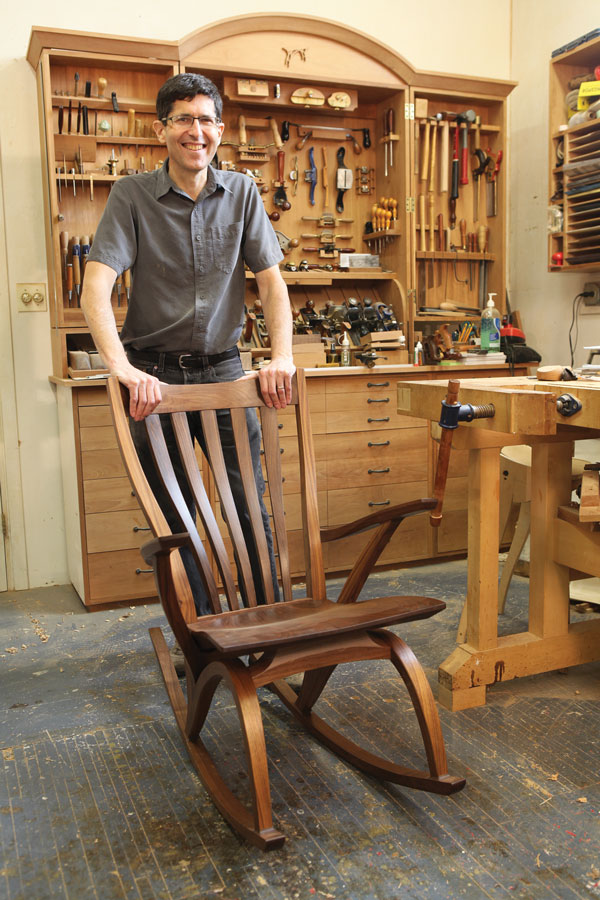 All kinds of music. Jeff Miller embraces street music and chamber music. Traditional design and modern curves. Hand tools and modern machinery. The results speak for themselves, as shown here in this walnut rocker he recently designed and built.