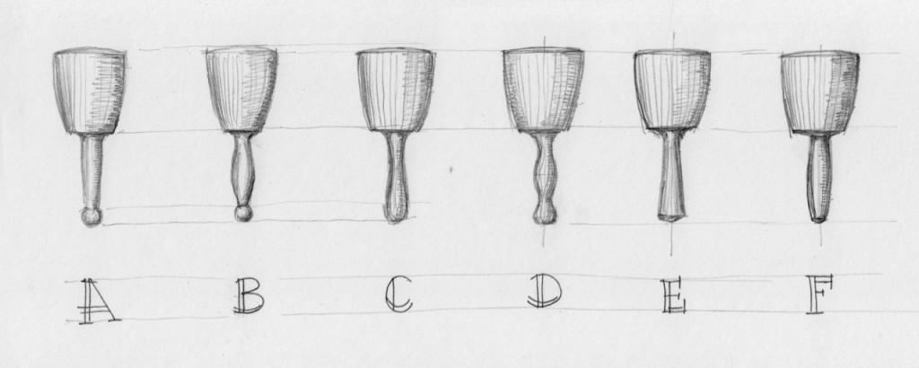 Common handle designs for a round mallet.