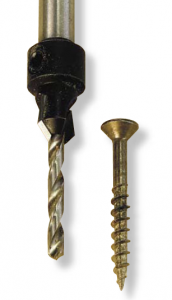 The Amana countersink extends into the drill's chuck. It is less likely to slip, and has a long-lasting carbide tip but doesn't come with a tapered bit.