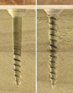 The hole on the left was bored with a tapered bit, allowing the shank to slide in the upper piece of wood, and the threads to cut neatly in the lower piece. The ragged hole on the right is the result of driving a screw without first drilling a pilot hole.