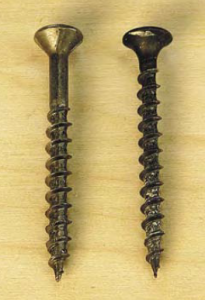 The screw on the left is made for woodworking. The drywall screw on the right is smaller in diameter, threaded the entire length of the shaft, and made of brittle metal.