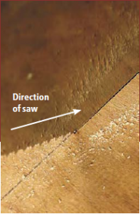Here's how to develop the orbital rhythm in your sawing: With Western-style handsaws, the blade cuts the work on the push stroke, as shown in this photo.