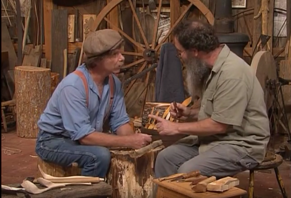 """A screen grab from """"The Woodwright's Shop Season 31, Episode 8, featuring Peter Follansbee showing Roy Underhill how to carve a Swedish-style spoon."""