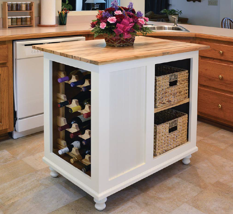 woodworker's kitchen island with wine rack