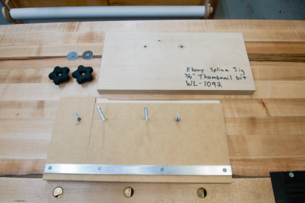 The clamping jig is made of common hardware store parts.