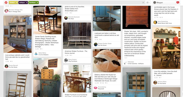 """What the heck is that cat in a hamburger doing in the middle of a """"shaker antique furniture"""" search?! Those marketing people are scary good..."""