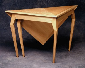 "New tradition. Miller's ""spider"" handkerchief table has traditional lines that have been altered for modern homes. Note the cabriole legs with their hard arrises."