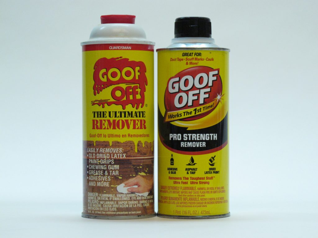 The old Goof Off with xylene (left) and the new Goof Off with acetone