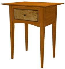Bedside table modeled and textured in SketchUp for woodworkers