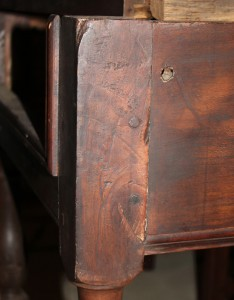 The double pinned mortise and tenon from this early 18th century table is still fairly tight event after about 300 years.