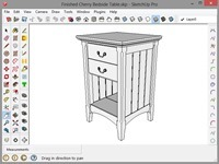 Cherry Bedside Table SketchUp Model