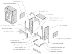 Exploded sub-assembly in Sketchup for woodworkers