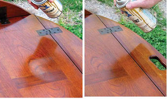 "For lacquer finishes, spraying a light mist of ""blush"" eliminator (butyl Cellosolve) is very effective for removing light water damage. My friend took his table out of his vehicle and set it on the grass. Within a minute or two I had removed the white mark with my ""magic"" aerosol."