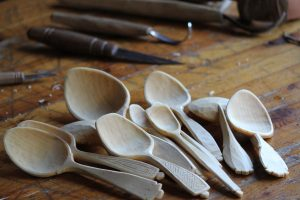 A few of Jarrod's beautiful spoons, which he believes forge a connection between past, present and future.