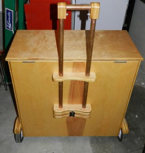 Rear view of Bill's tool chest showing luggage-style handle.